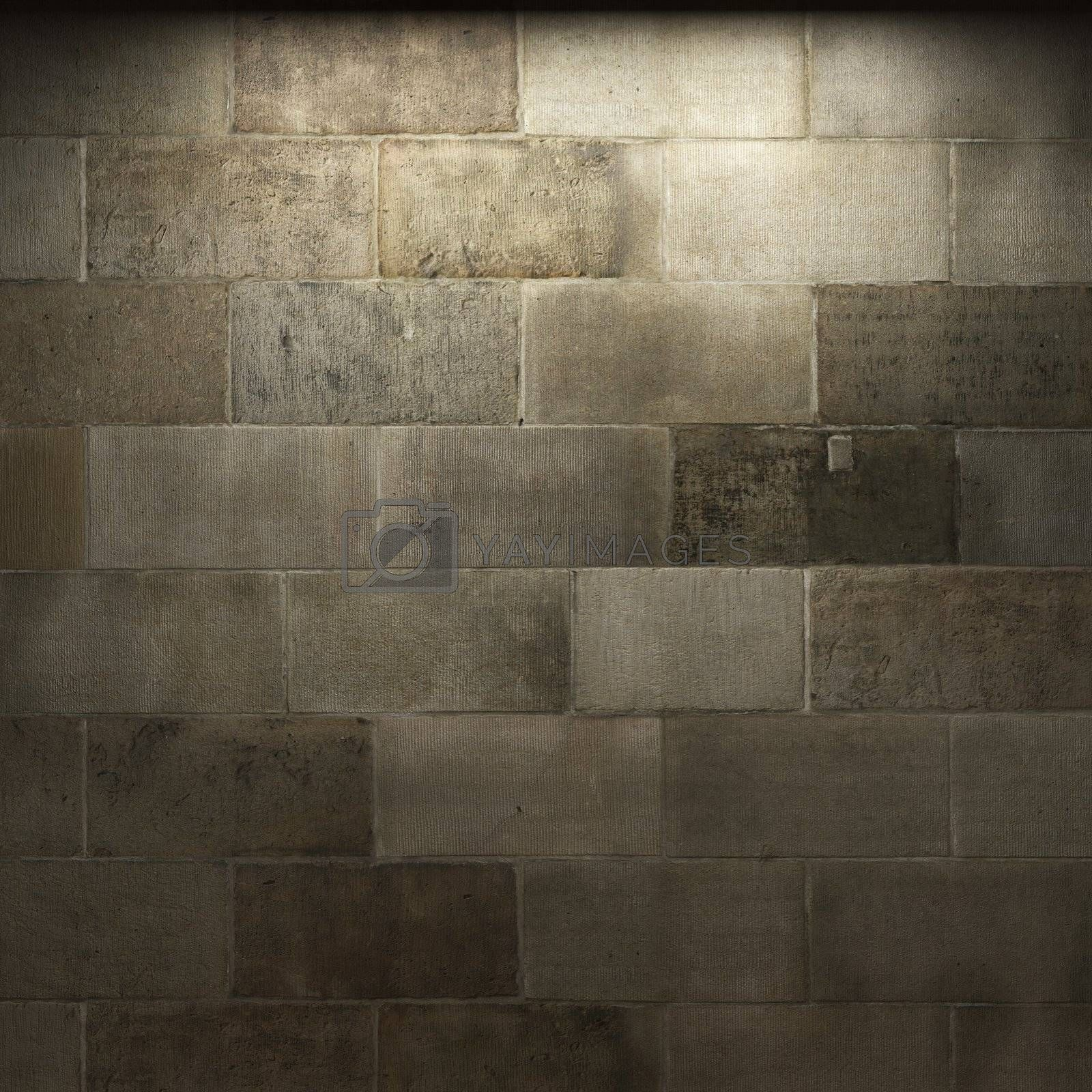illuminated stone wall made in 3D graphics