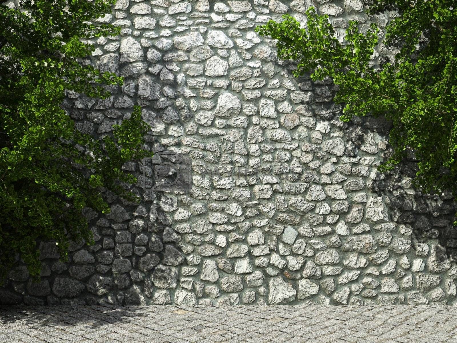 illuminated stone wall and ivy made in 3D graphics