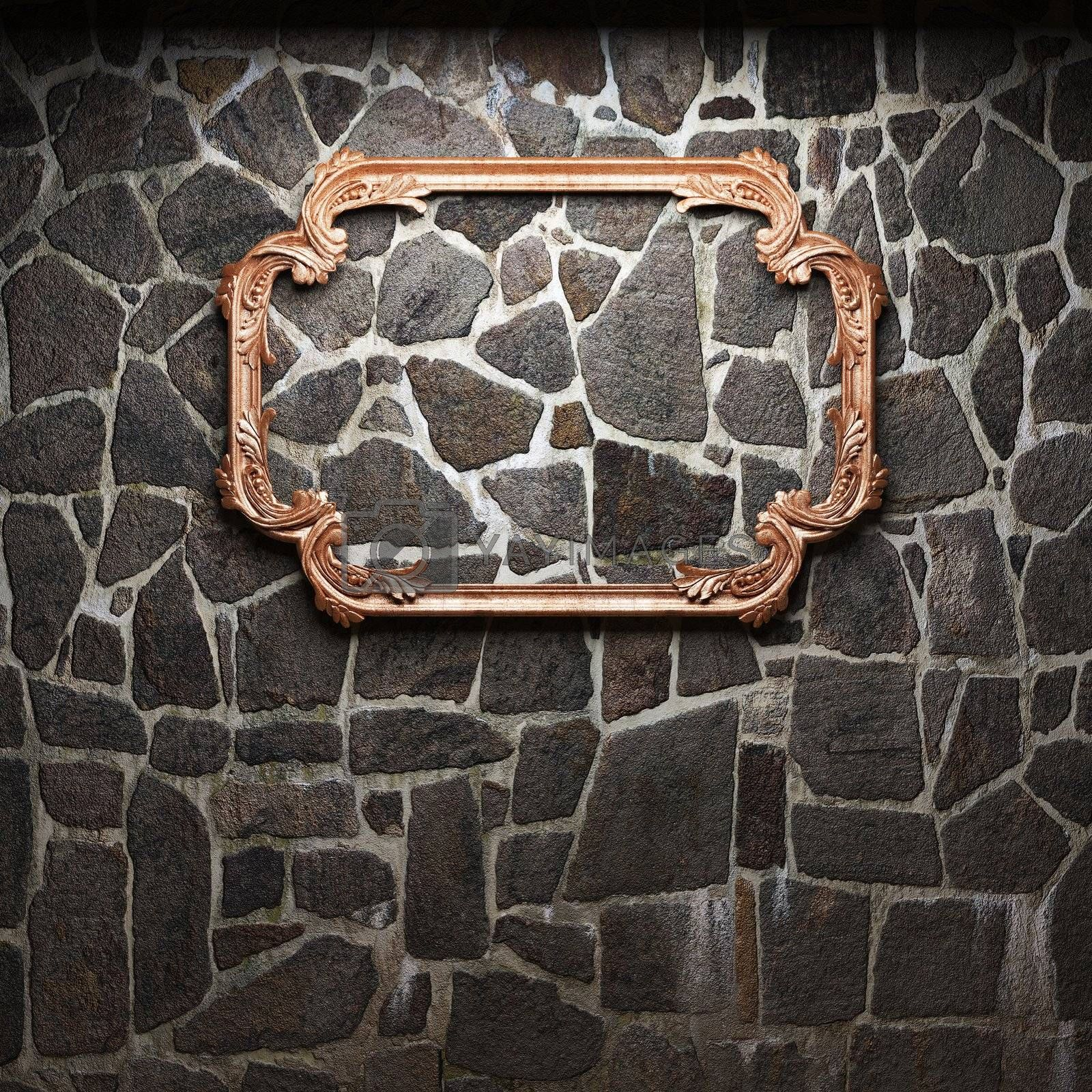illuminated stone wall and frame made in 3D