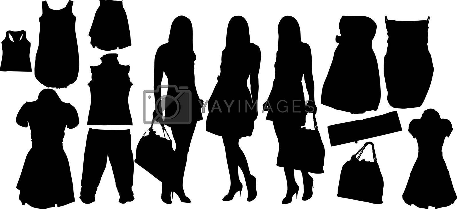 Illustration set of fashion  silhouettes