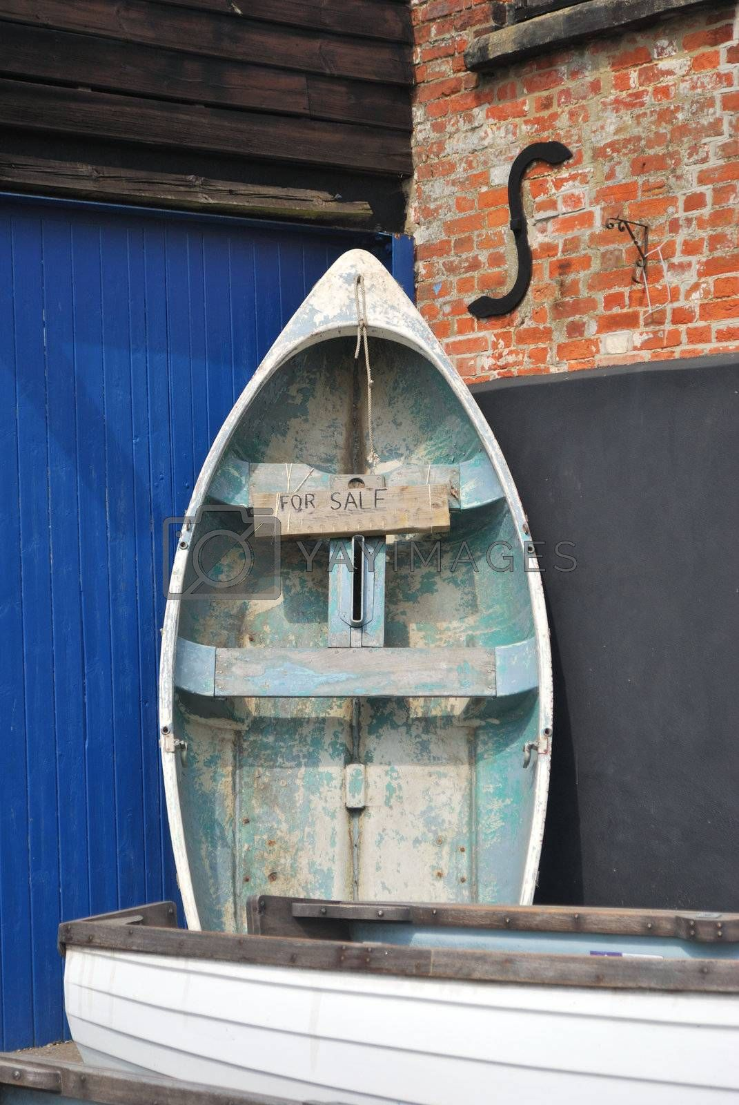 rowing boat standing and up for sale