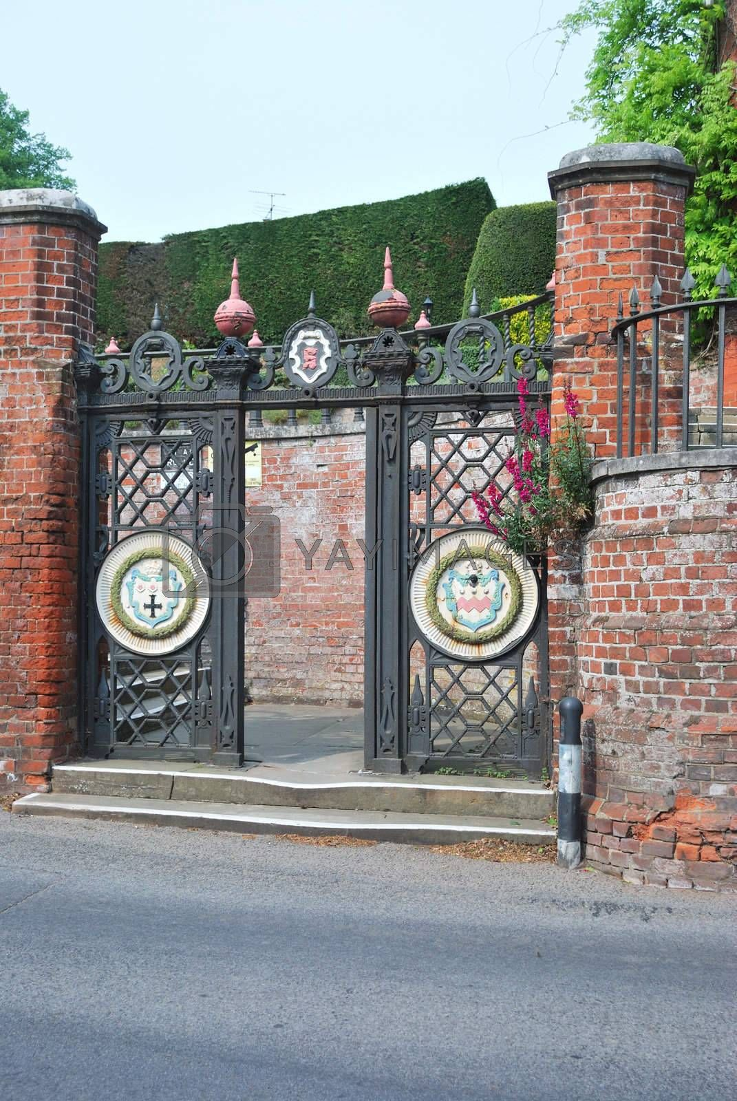 Wrought iron gates showing seckford coat of arms