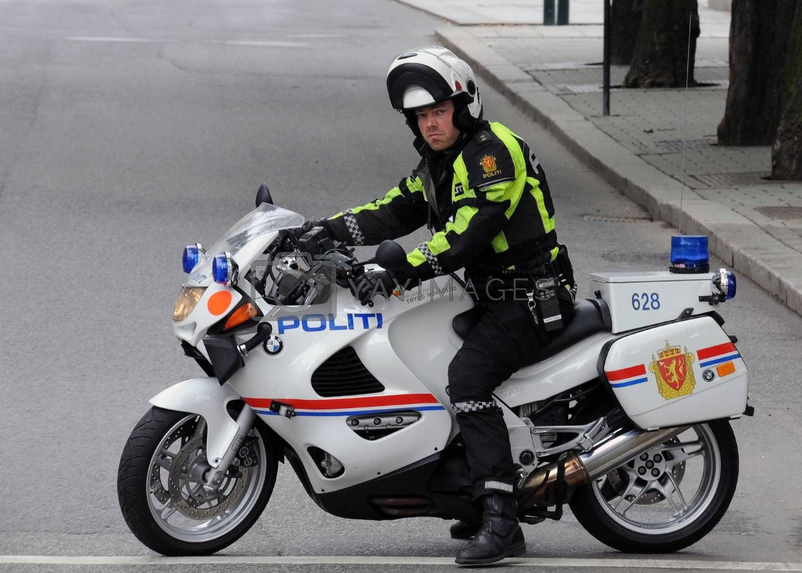 Policeofficer on motorbike in Oslo Norway