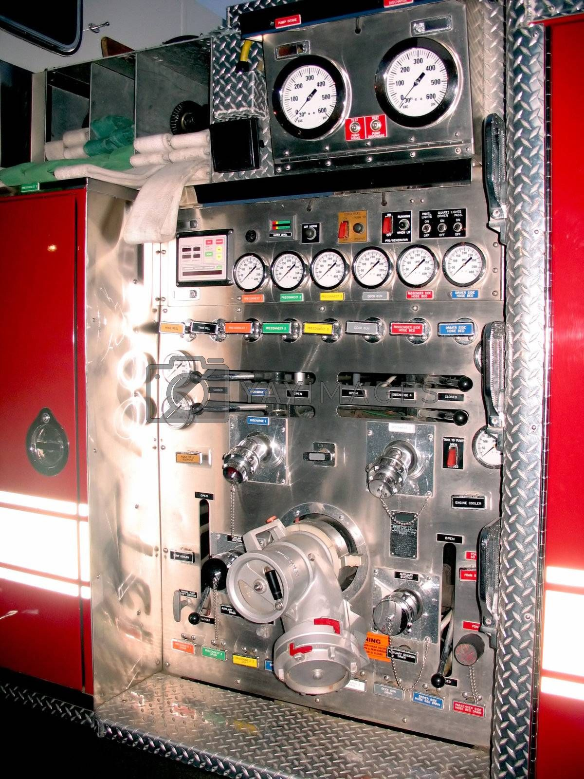 The side control panel of a modern fire engine.