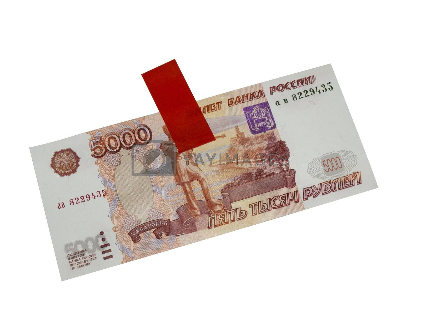 Russian  big money. 5000 rubles and adhesive tape isolated on white