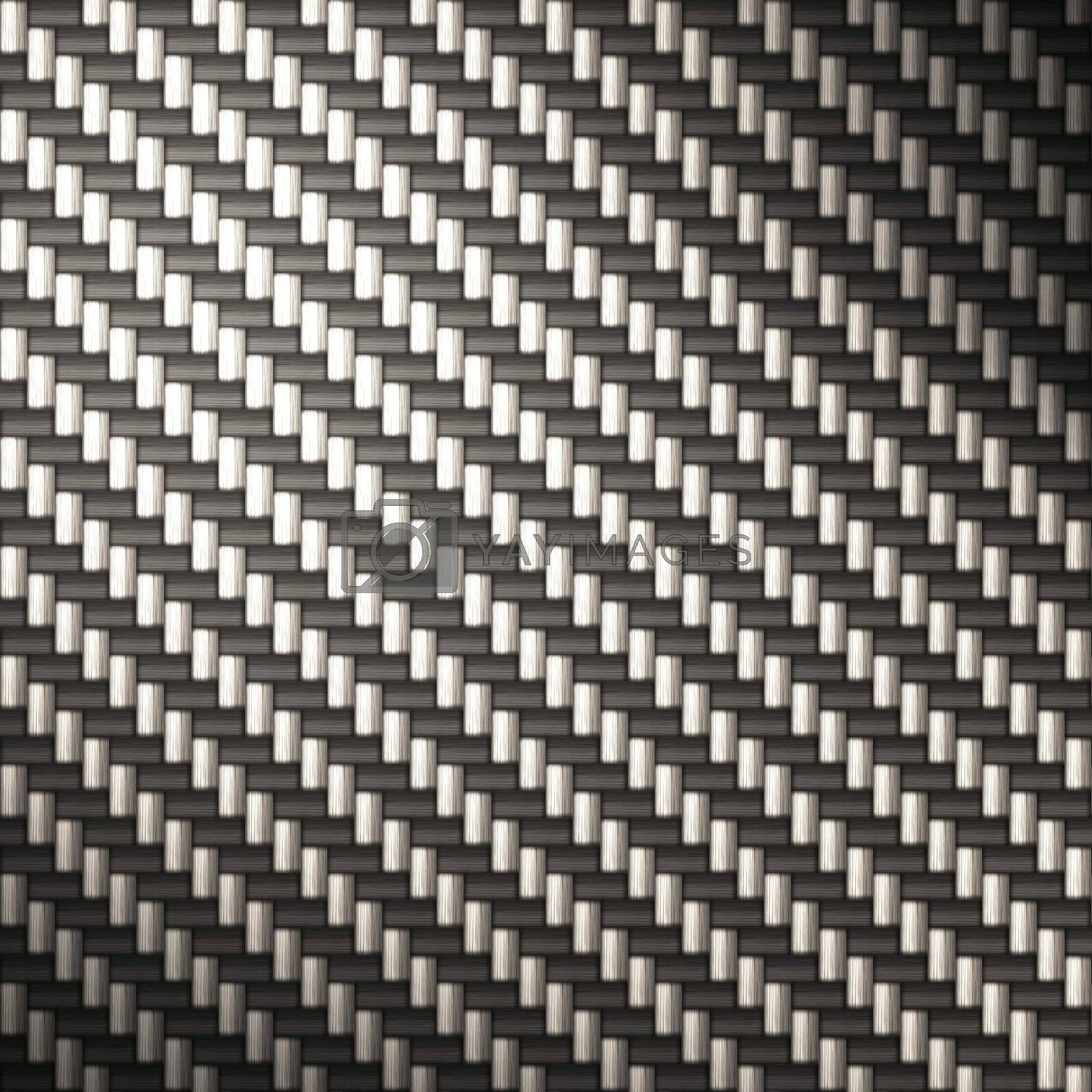 "A tightly woven carbon fiber background texture - a great and highly-usable art element for that ""high-tech"" look you are going for in your print or web design piece.  This illustration has bright highlights to portray the reflectivity in real carbon fiber."