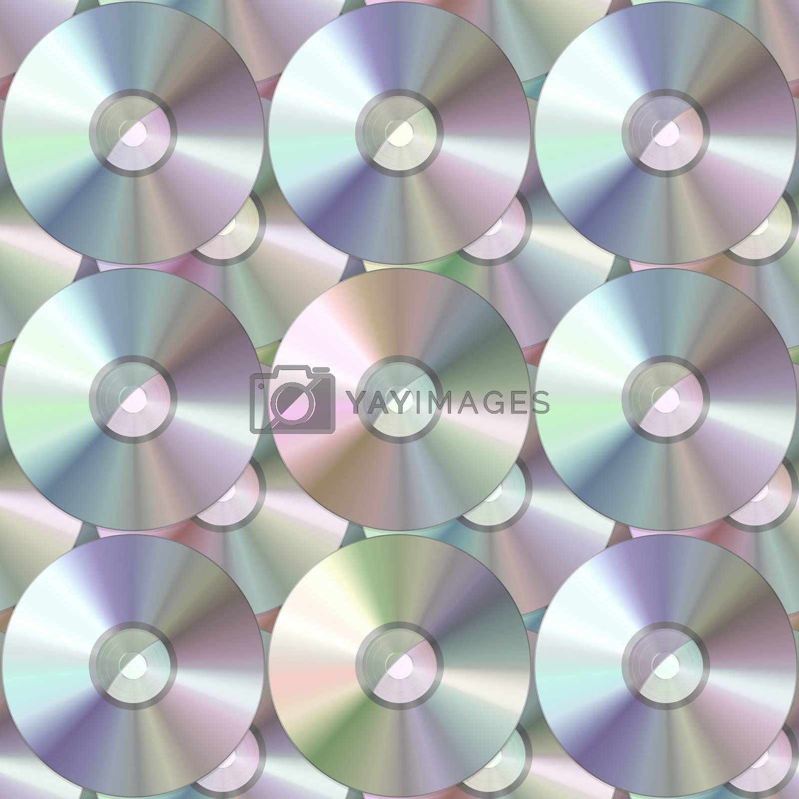 Blank media background texture - these are either CDs or DVDs.  This image tiles seamlessly as a pattern.