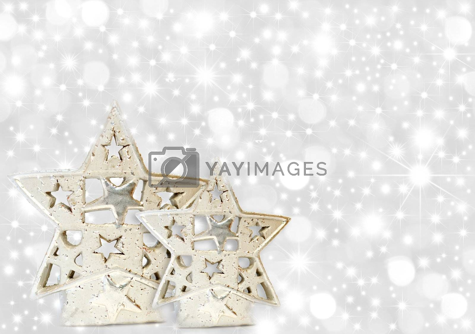 Christmas greeting card two silver stars on starry background