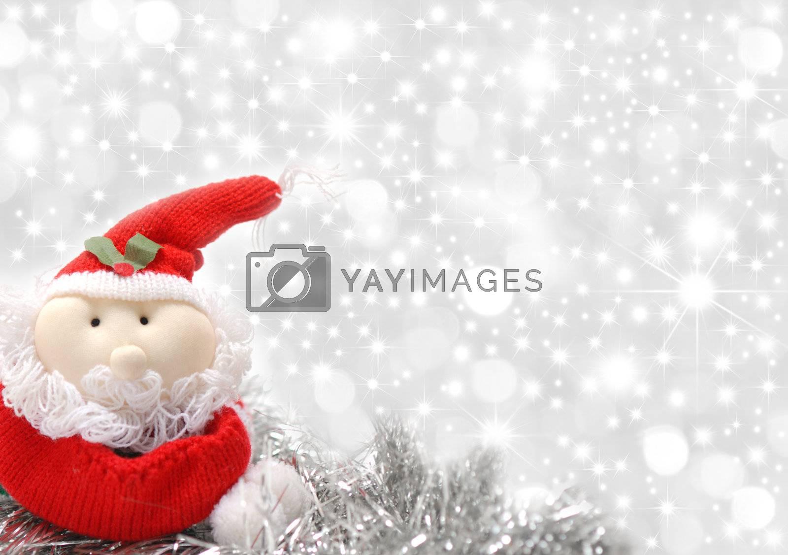 Christmas greeting card santa silver star background