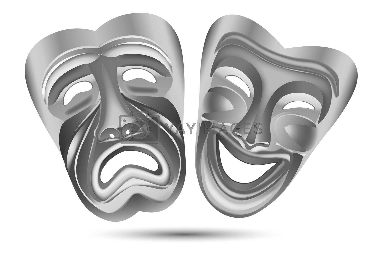 illustration of entertainment masks on white background