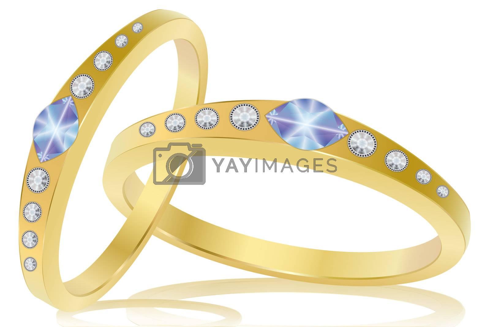 illustration of engagement ring on white background