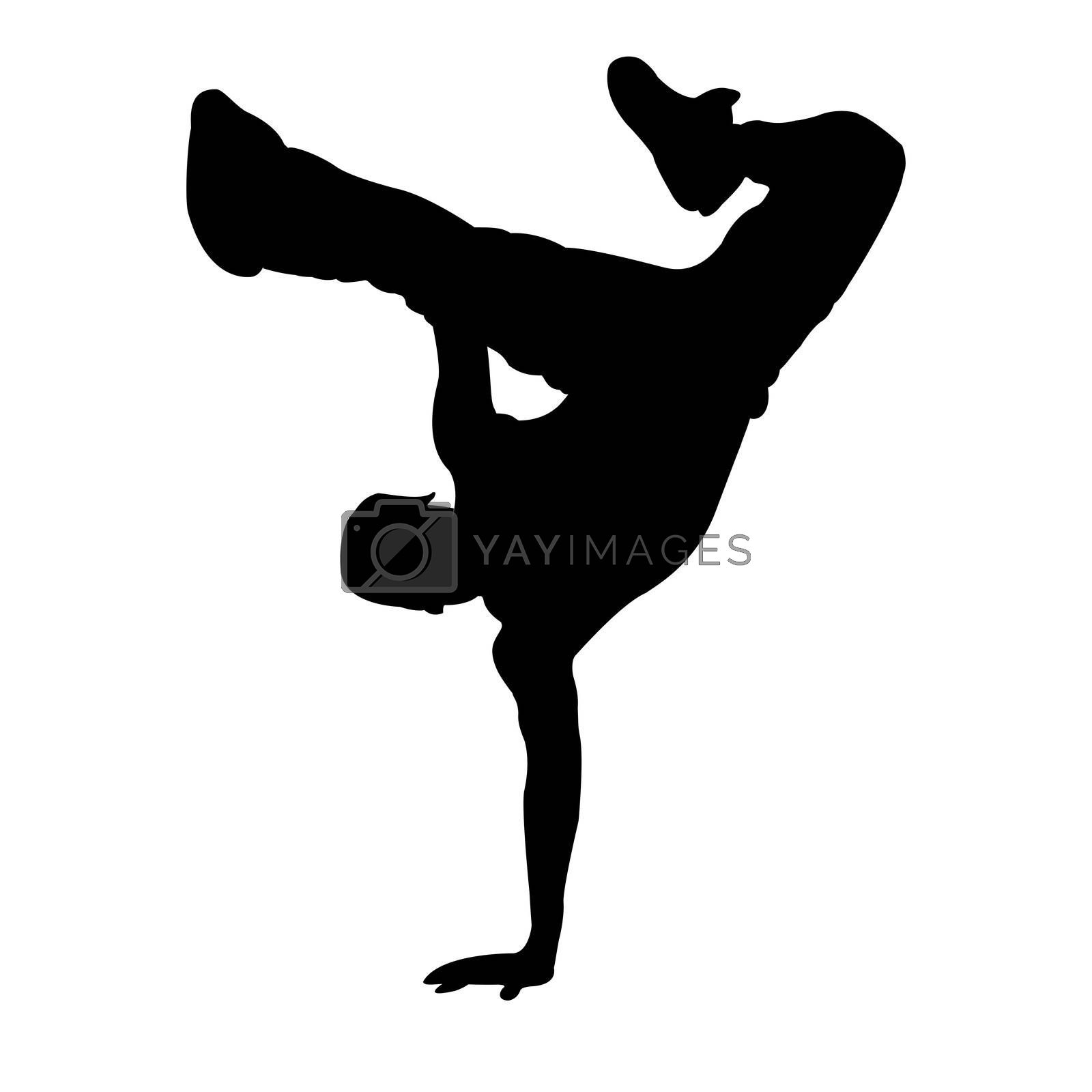 illustration of dancing boy on white  background