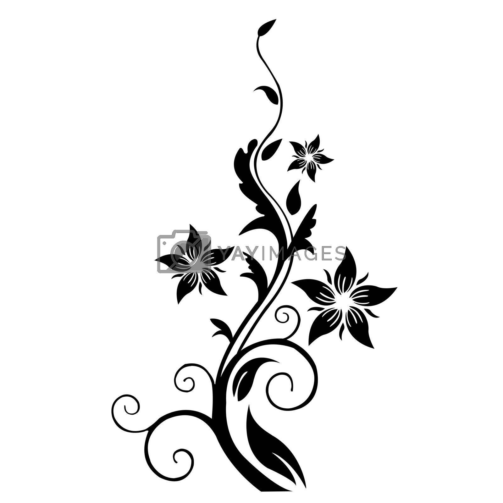 illustration of floral tree on white background