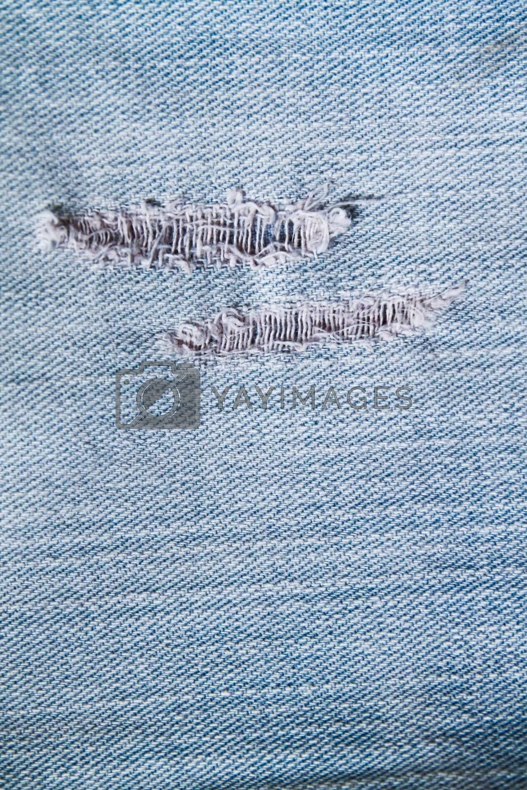 texture and pattern of rip blue jeans