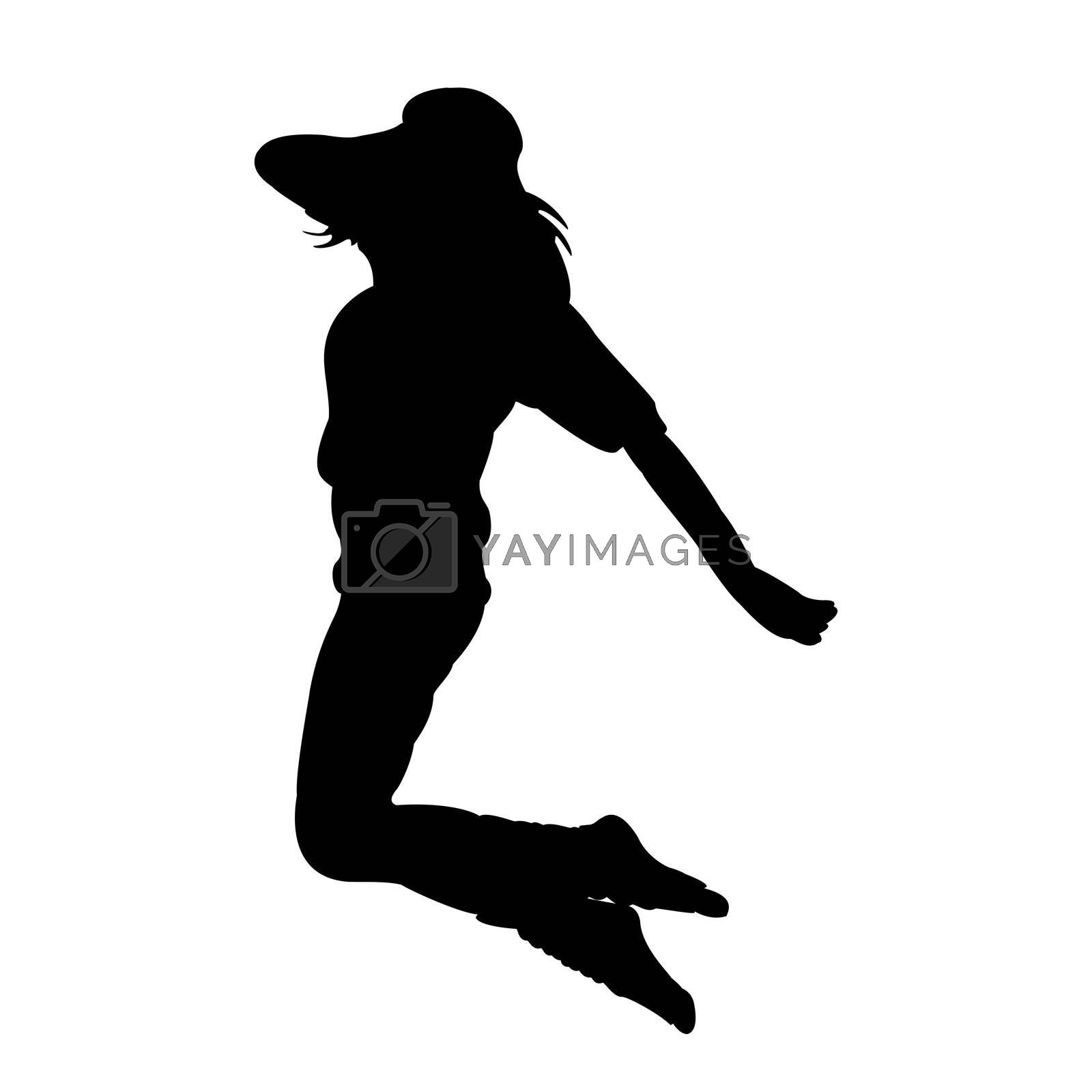 illustration of dancing lady on white background