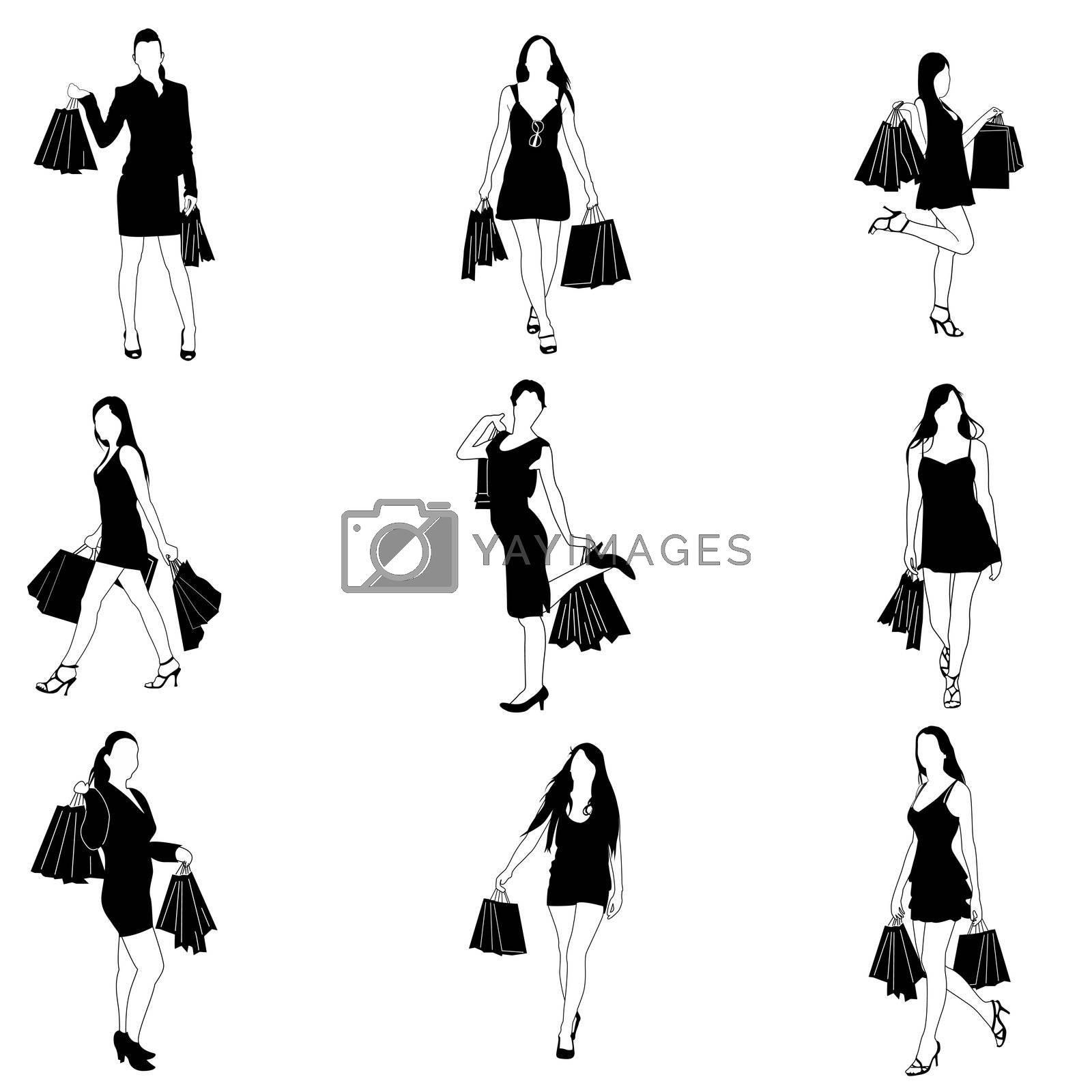illustration of shopping lady on white background