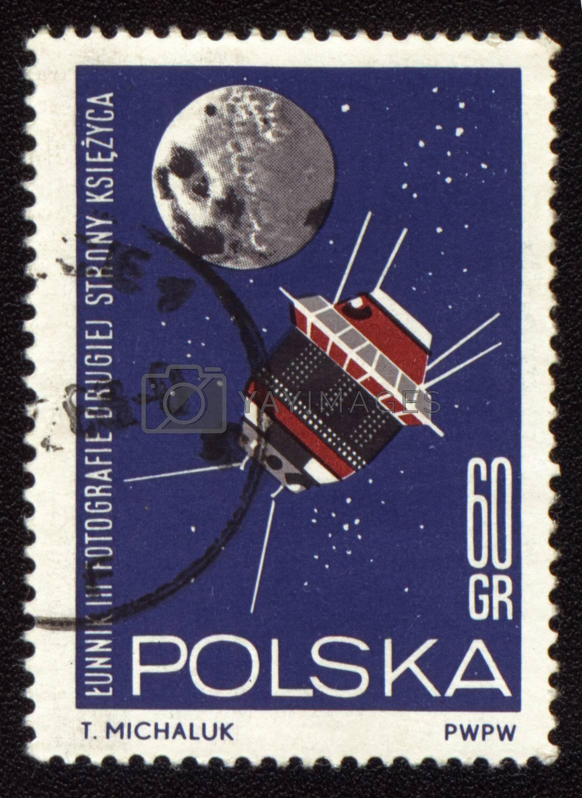 Postage stamp printed in Poland shows soviet spaceship Luna-3