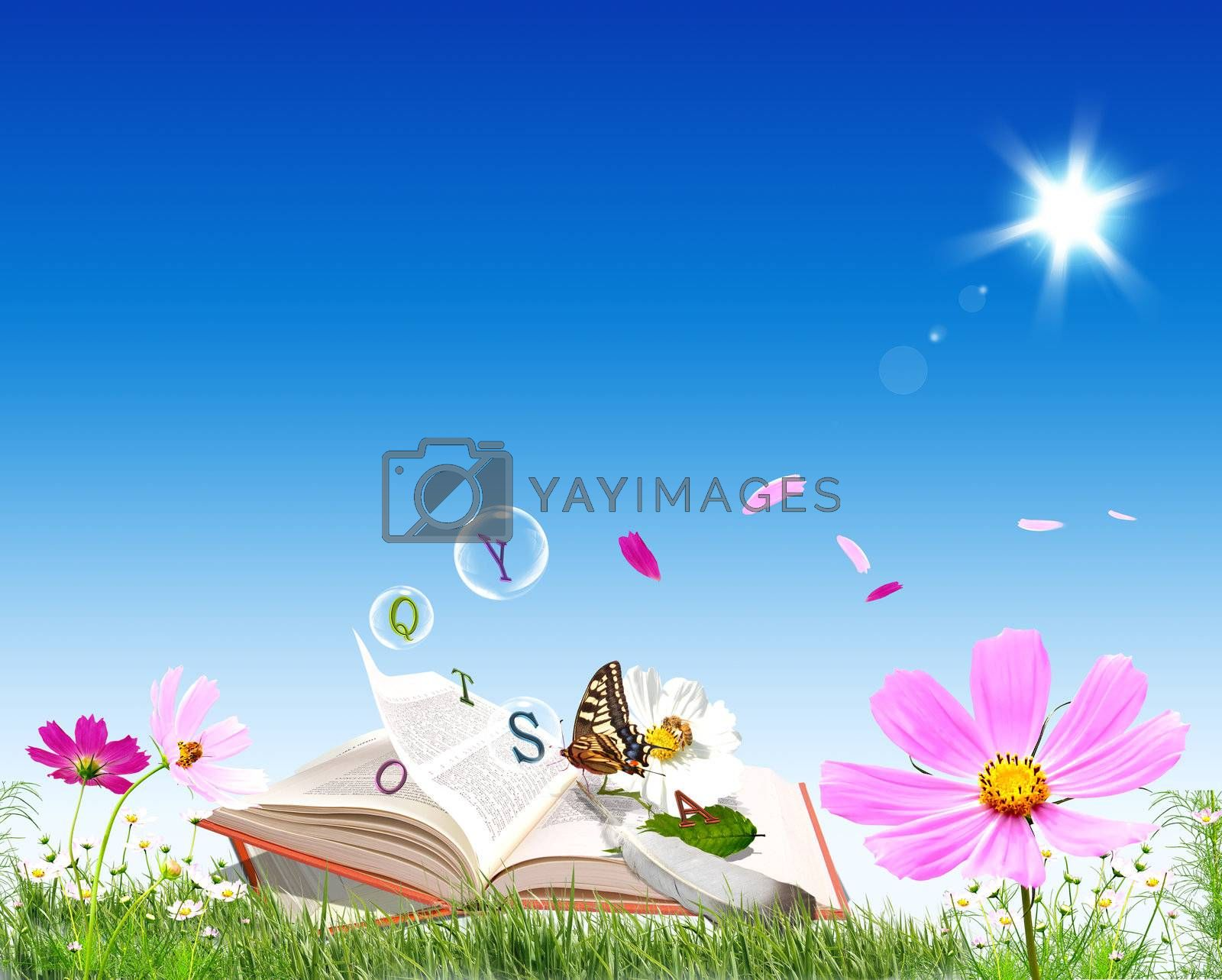 It is nice summer book with blue sky shining sun flowers