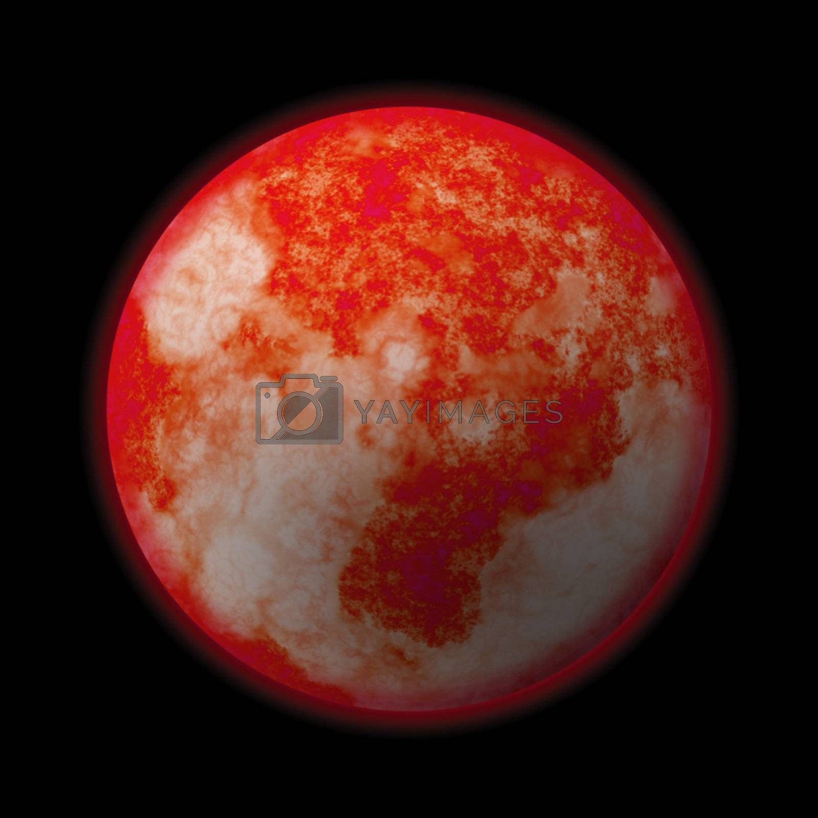 A red hot glowing planet - it works well as Mars or the Sun.