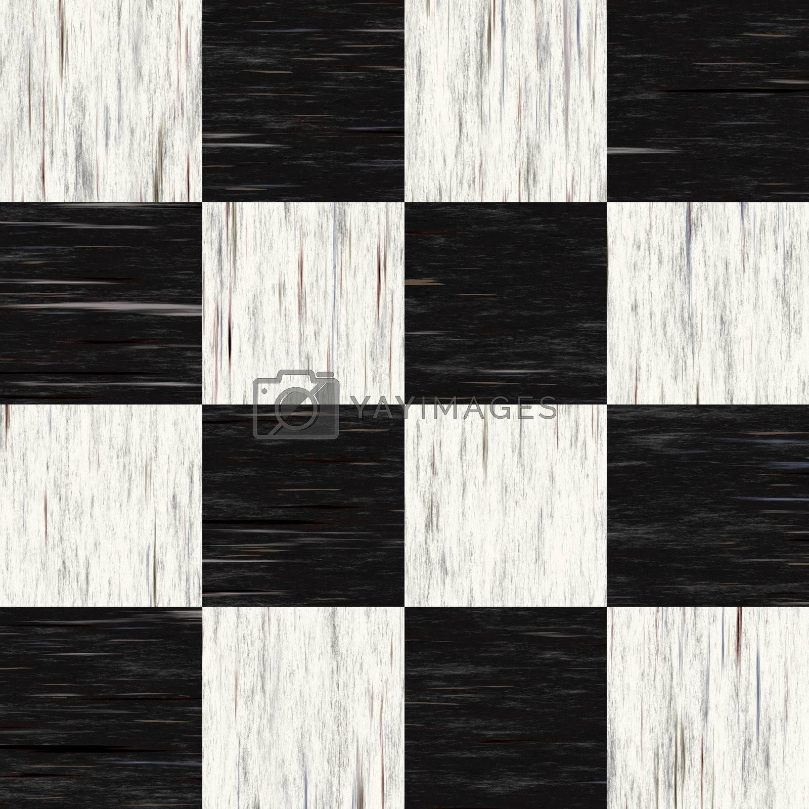 Black and white checkered floor tiles with texture.  This tiles seamlessly as a pattern.