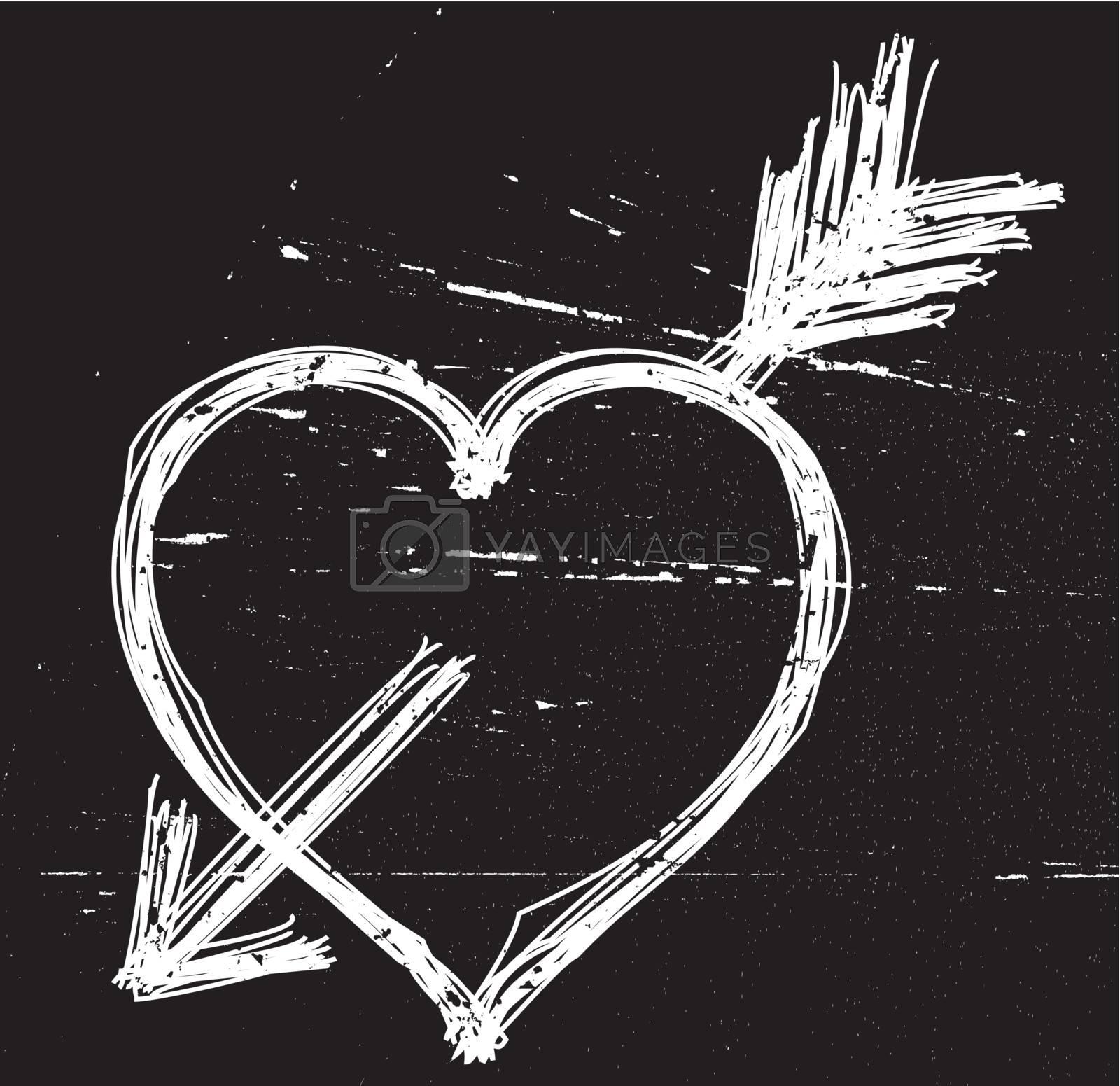 Heart symbol on black grunge background. Vector illustrations.