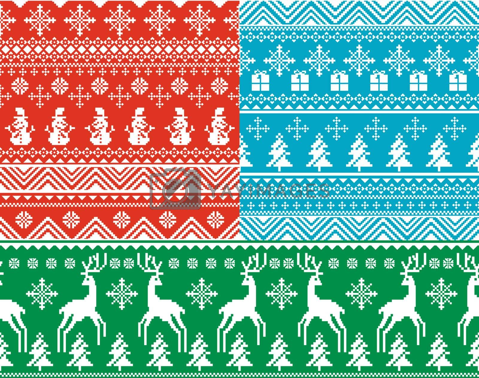 set of abstract vector seamless christmas backgrounds