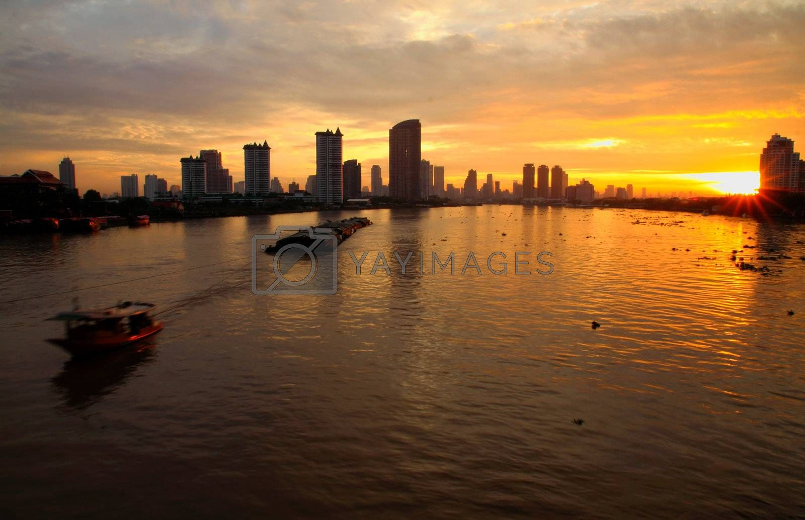 Bangkok skyline in the morning with ship, thailand