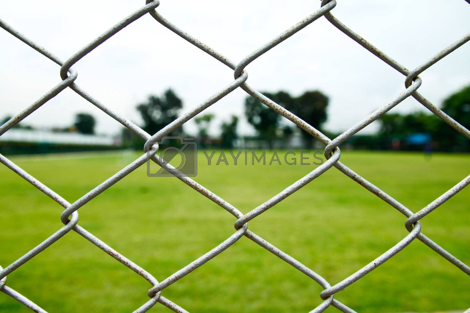 old wire fence and football yard