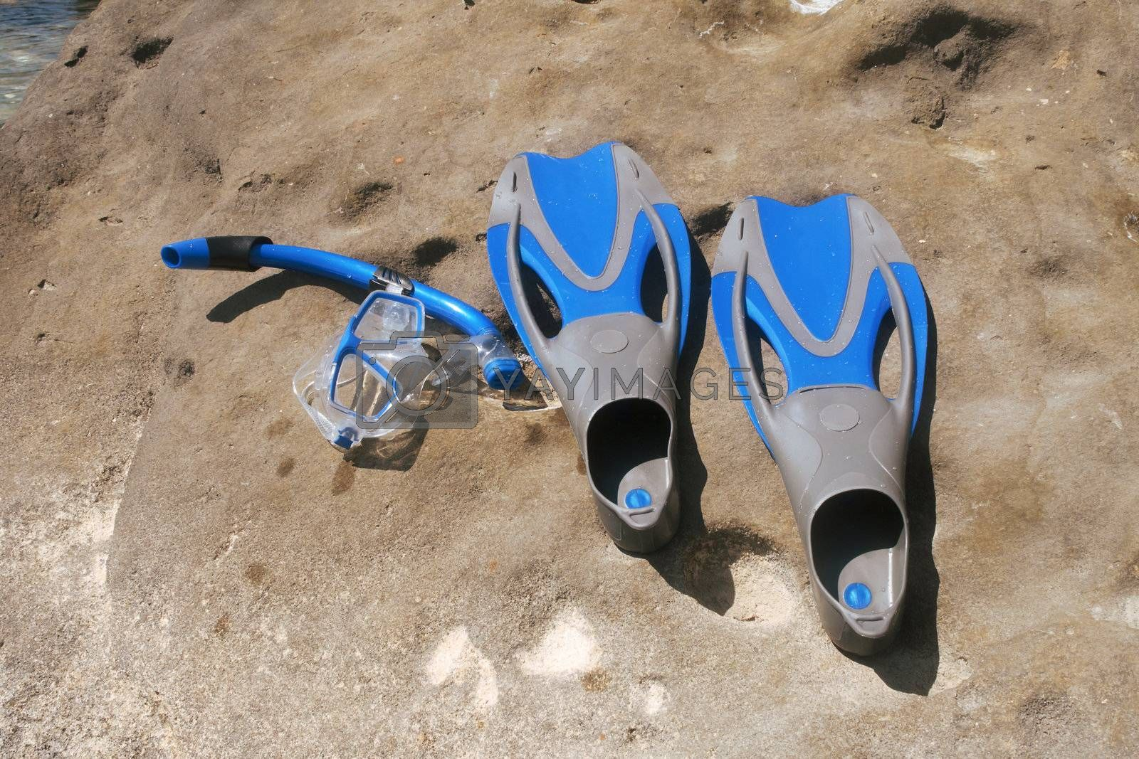 Flippers and snorkel with the mask lying on a rock.