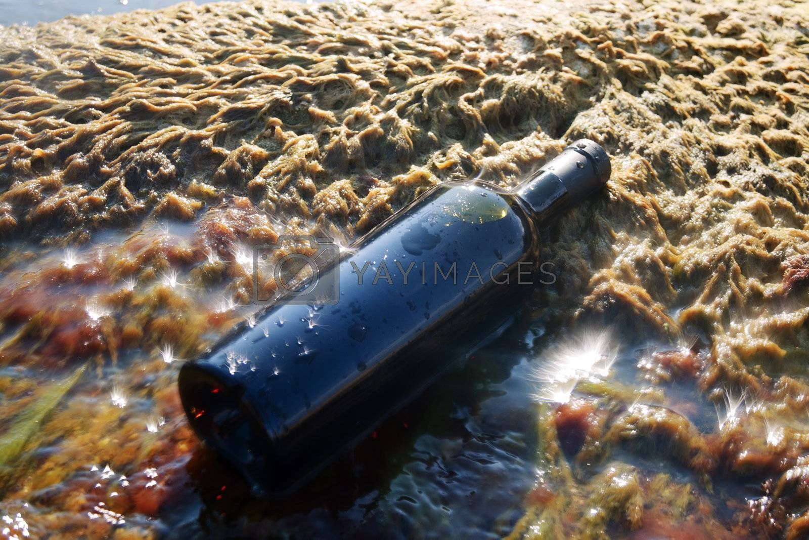 Wine in the bottle lying on the beach.