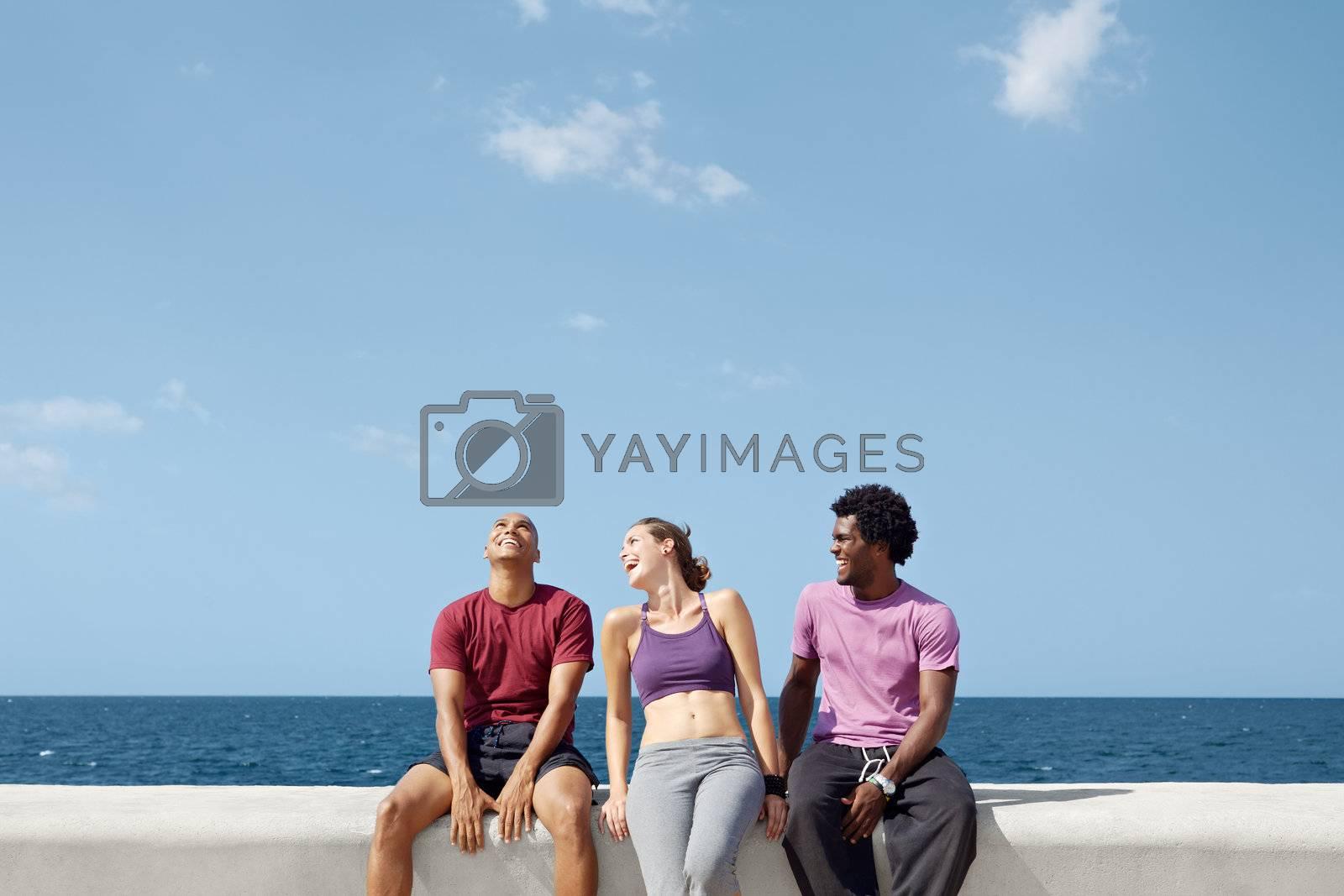 caucasian, hispanic and african american friends smiling and having fun near the sea. Horizontal shape, three quarter length, copy space
