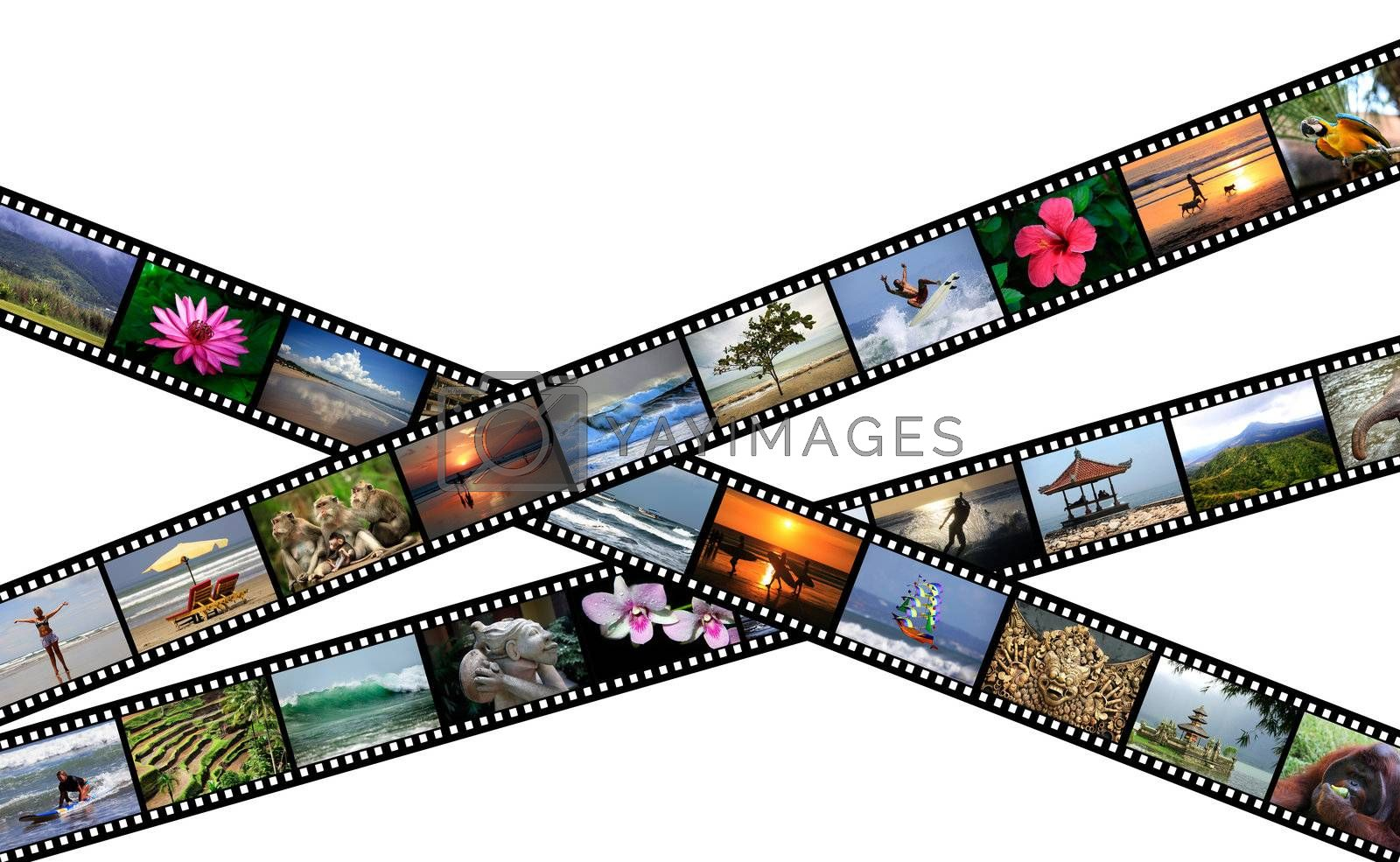 Film strips with travel photos. Indonesia, Island Bali. All photos taken by me, filmstrip illustration made by me.