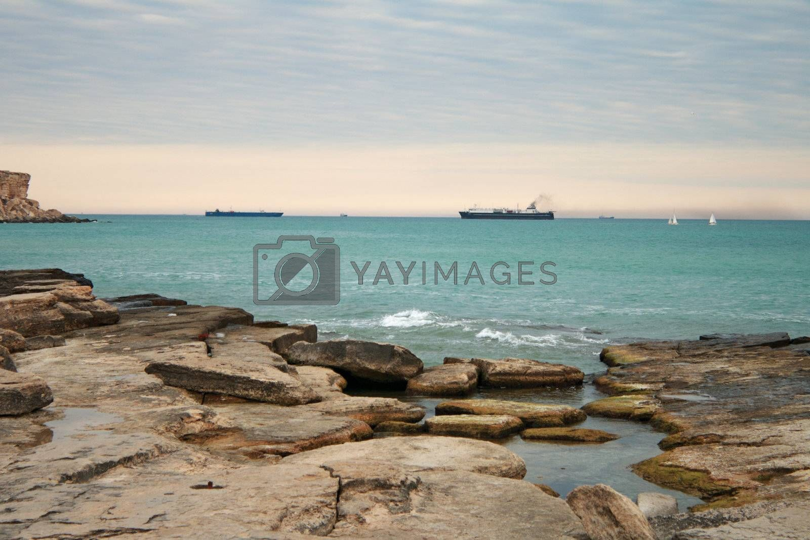 View of the sea on the horizon, the Baku ferry enters the port of Aktau.