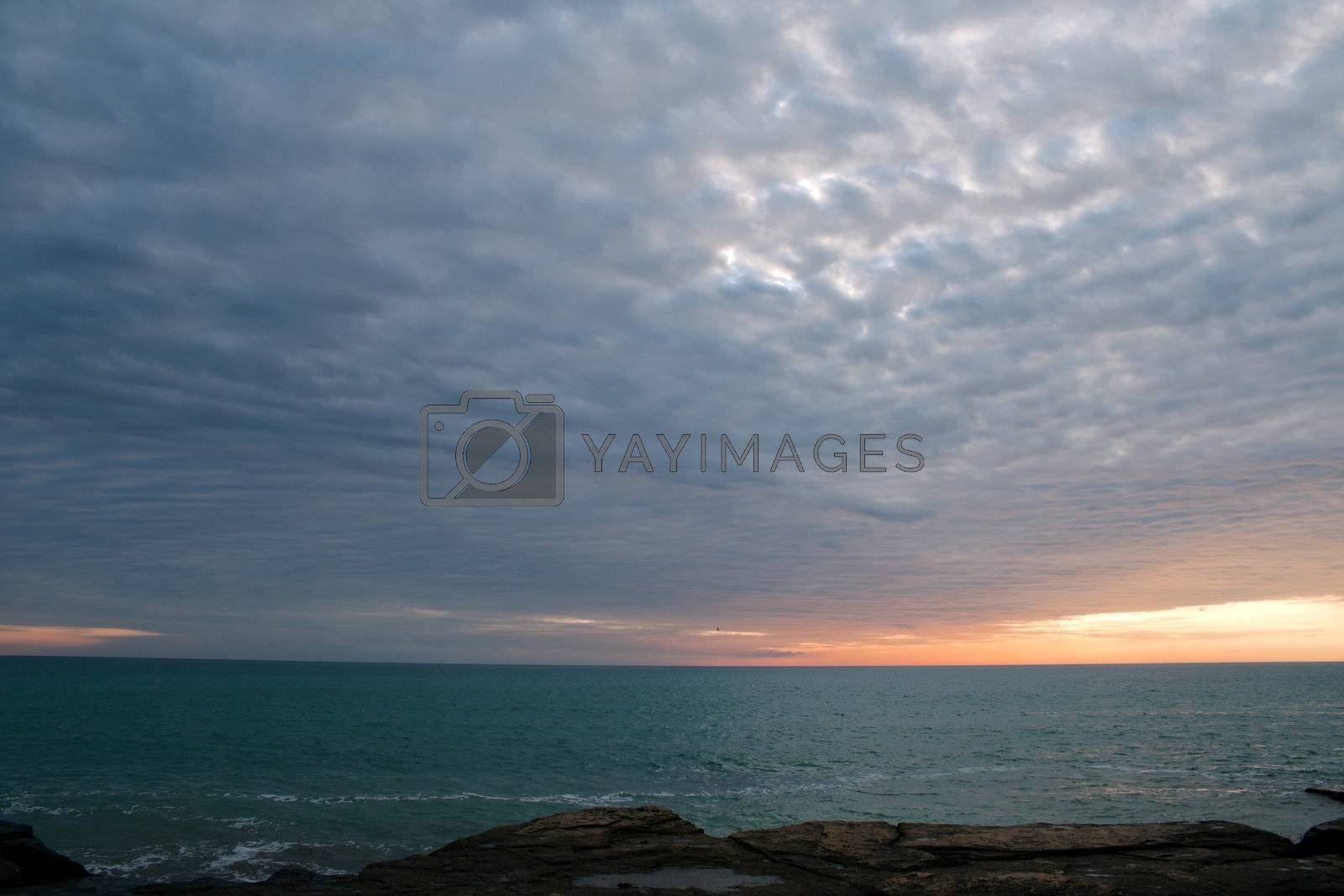 View of the sunset over the Caspian Sea in the month of September.