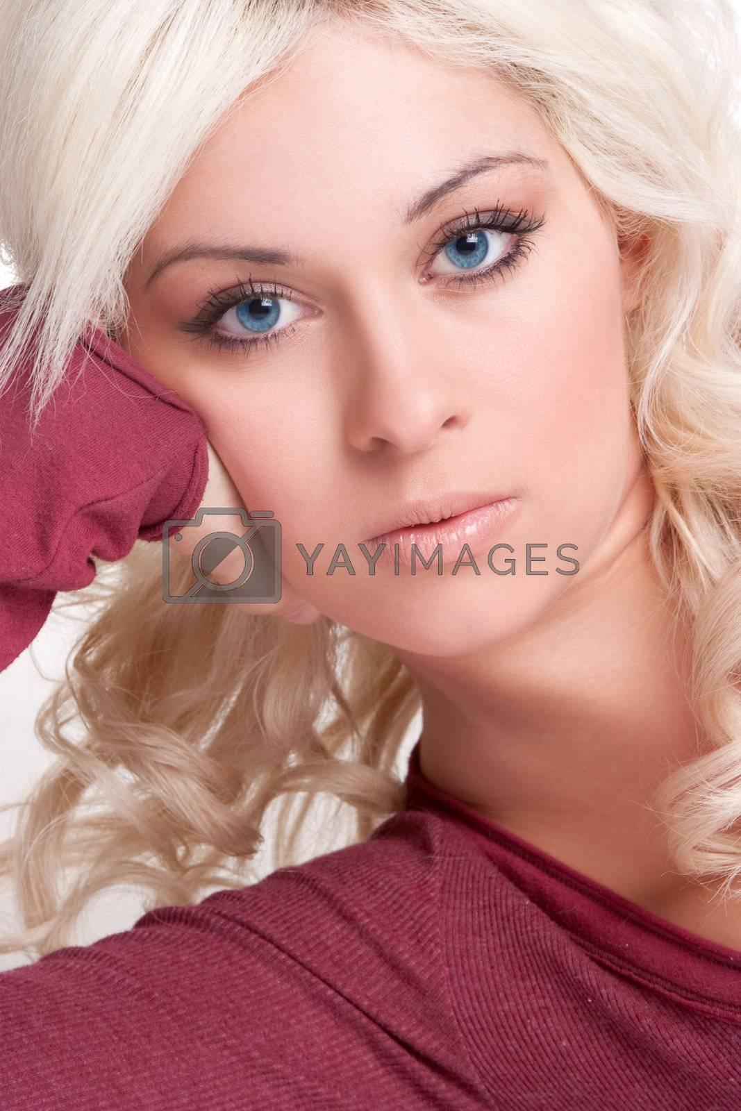 Beautiful blue eyes blond woman