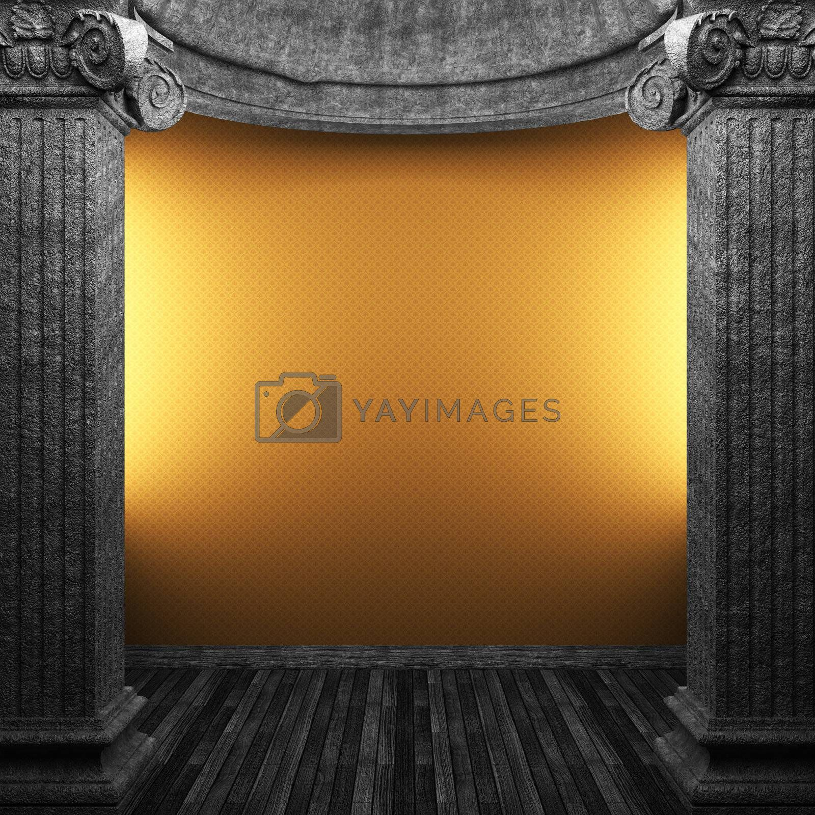 stone columns and wallpaper made in 3D
