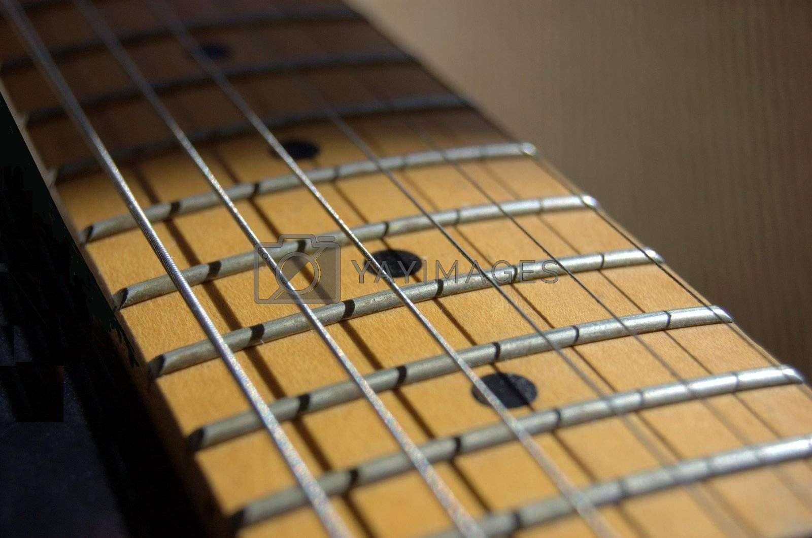Closeup of electric guitar frets