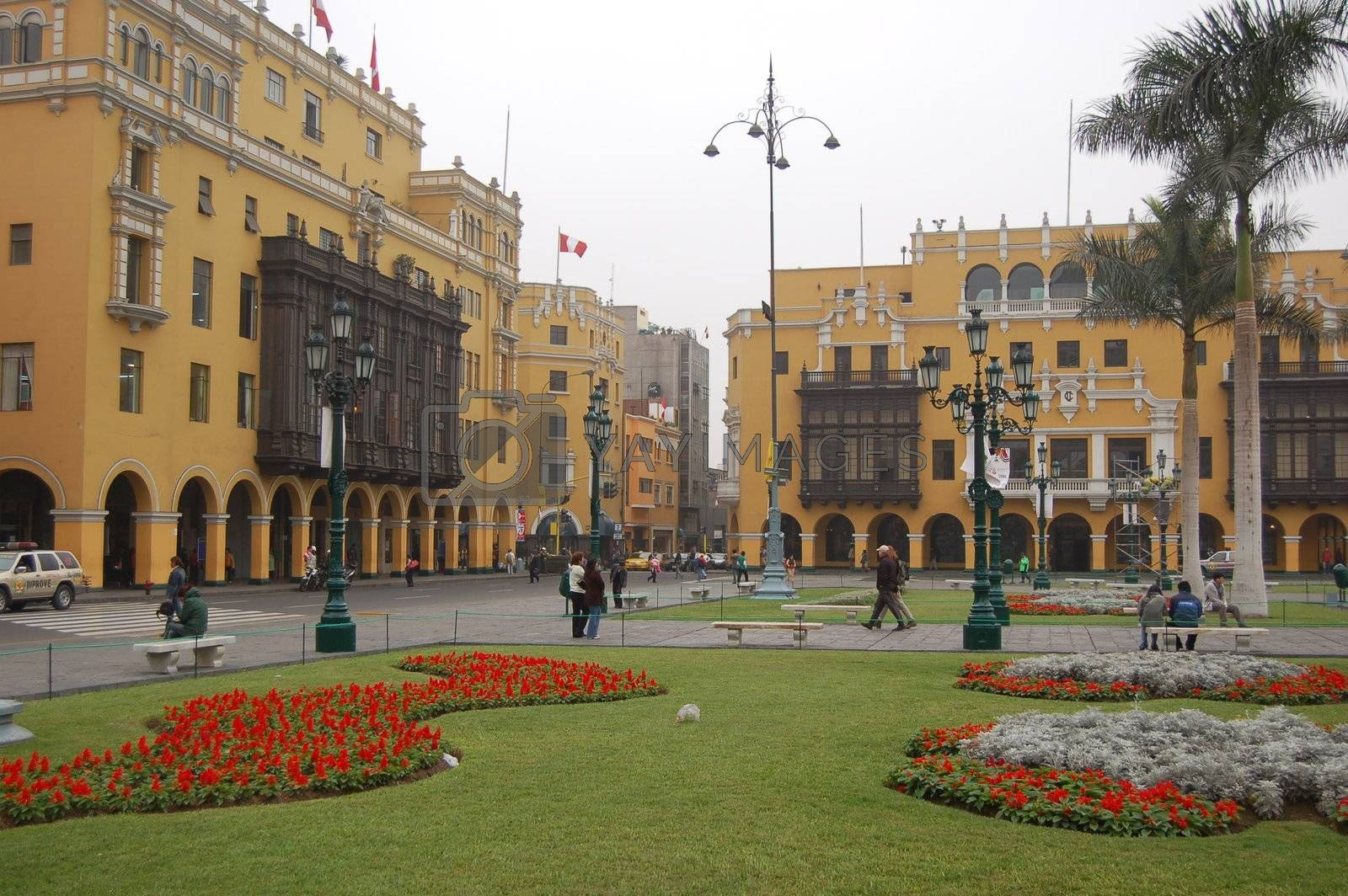 Beautifully renovated Plaza de Armas in Lima, Peru
