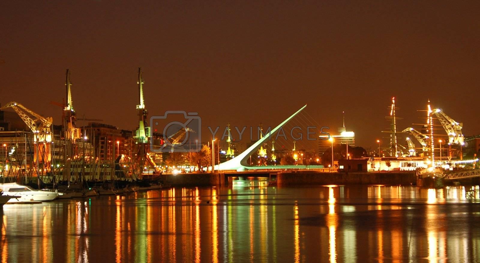View on illuminated posh Puerto Madero neighbourhood