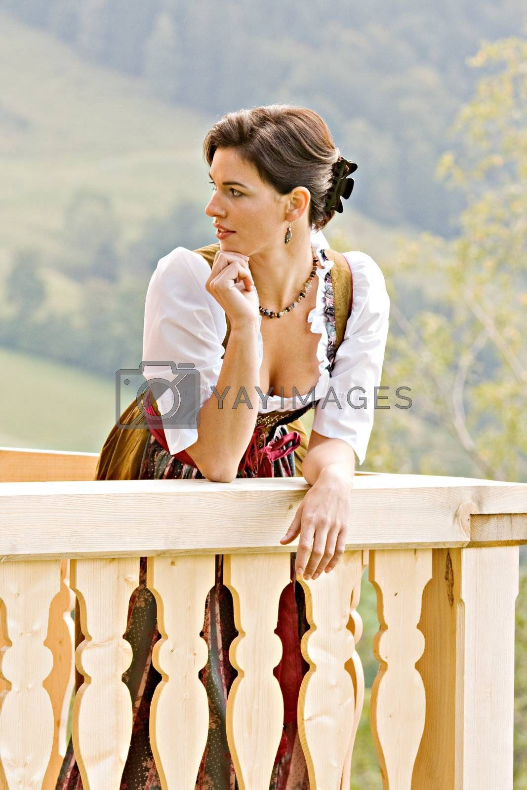 Bavarian girls from enjoying the view from the balcony