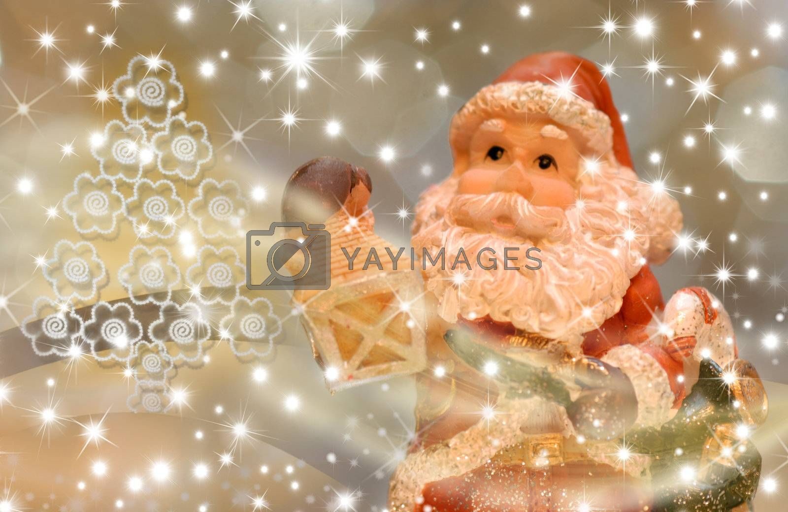 christmas card, santa with a lantern in the starry night