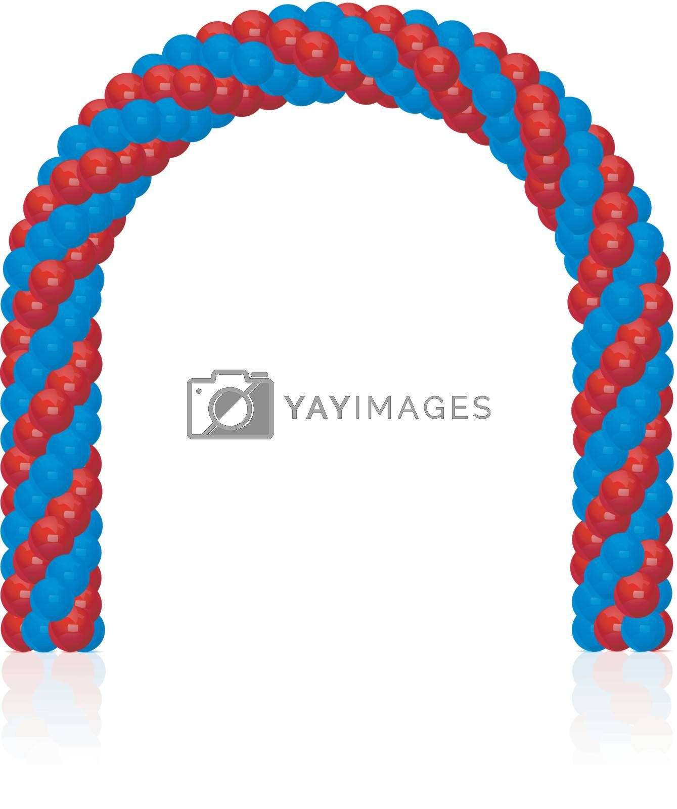 Arch of balloons twisted in a spiral form on white