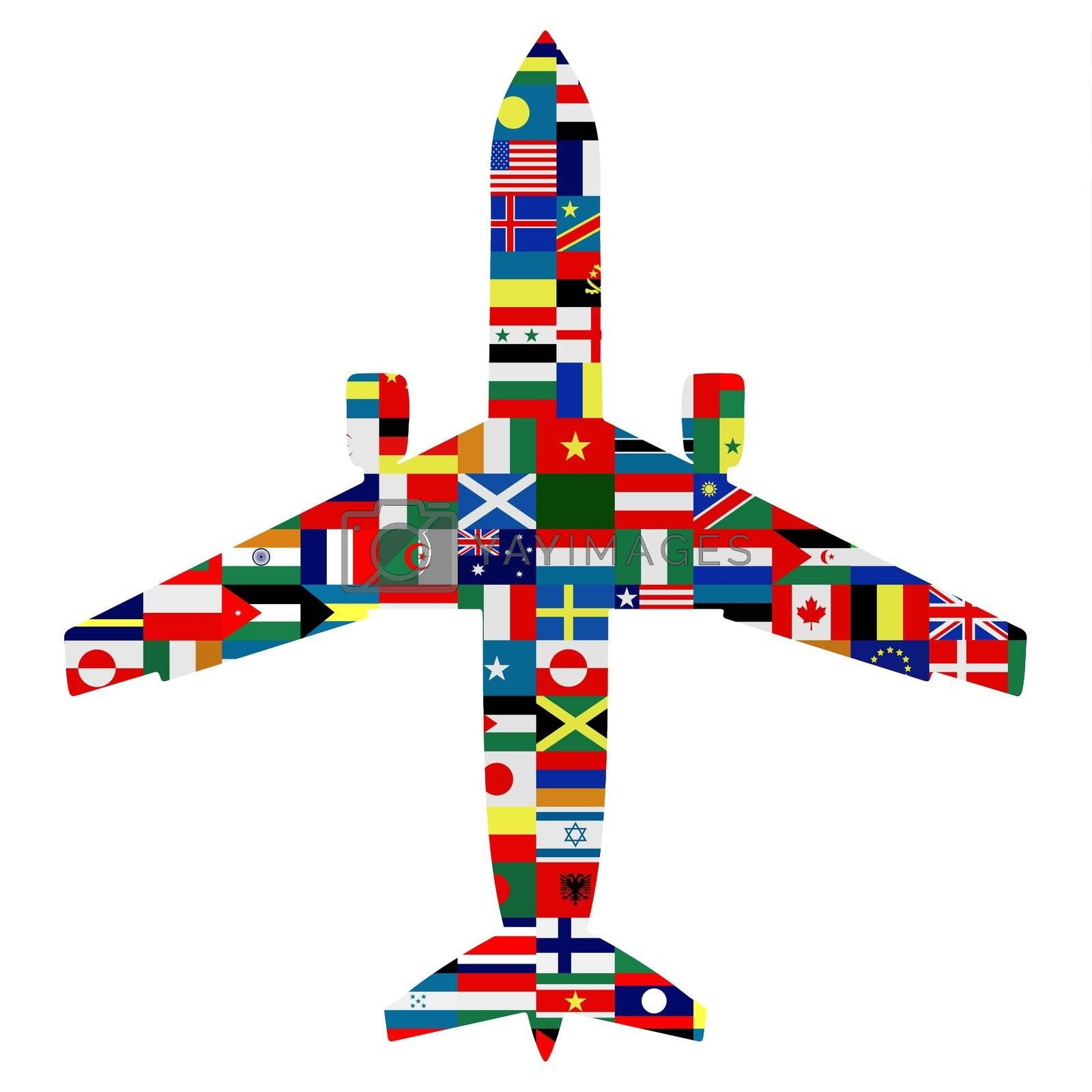 Silhouette of a passenger aeroplane with world flags as the texture