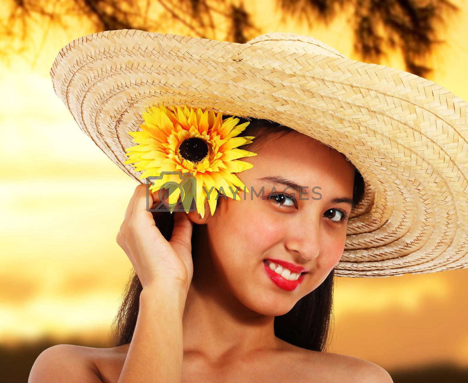 Pretty Smiling Girl In A Hat At Sunset In The Countryside