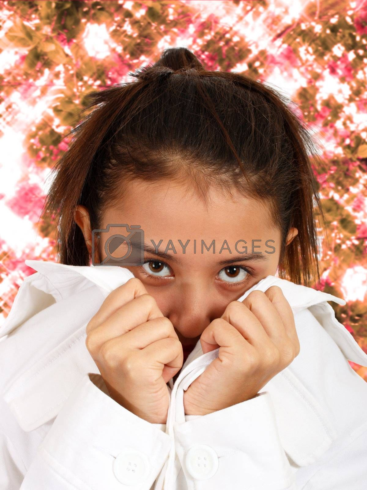 Pretty Girl Looking Shy With Sparkling Flowers Background