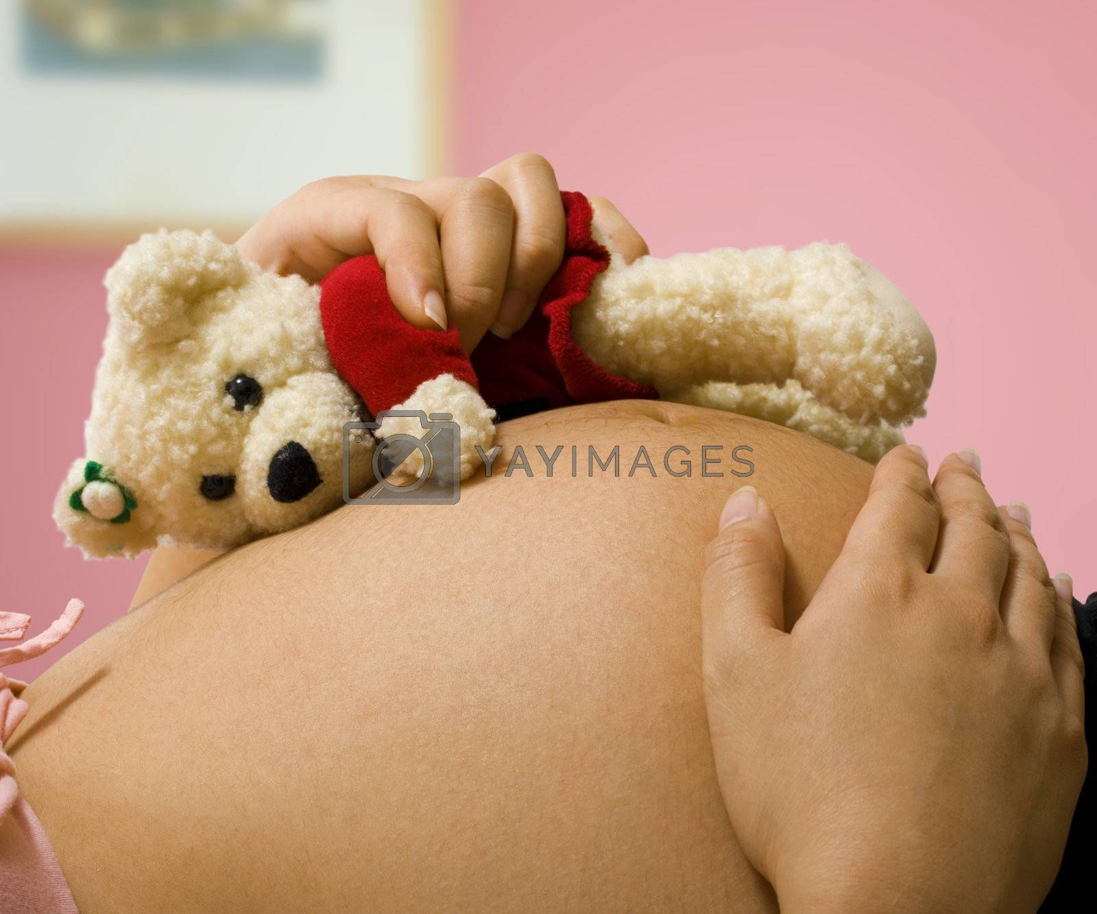 Pregnant Mother Holding A Teddy Bear by stuartmiles