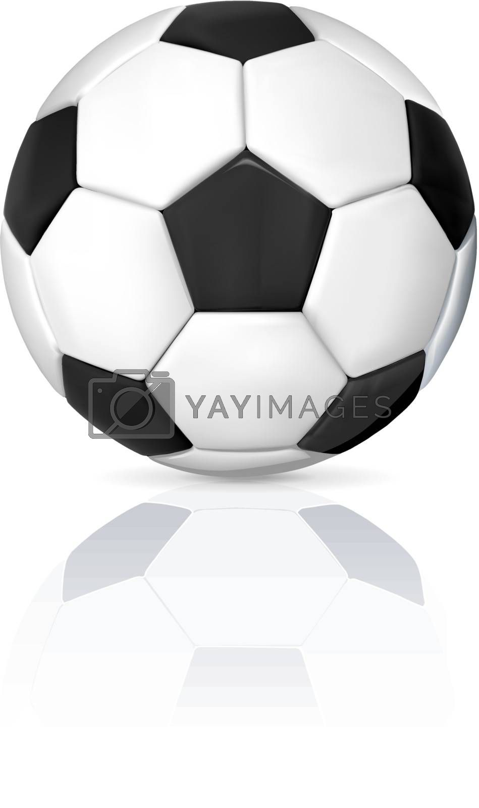 An isolated image of a leather soccer ball with shadow and reflection