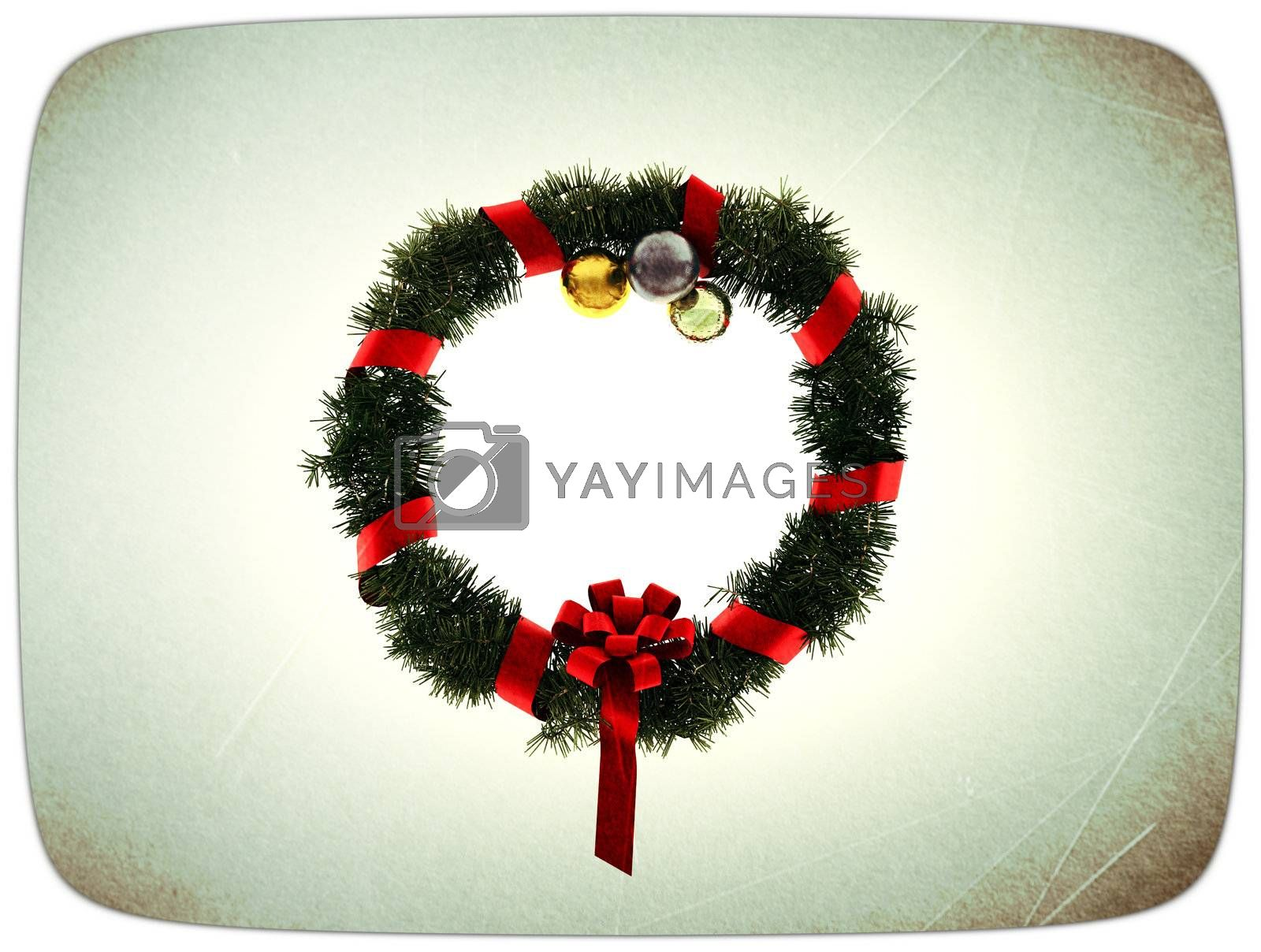 Christmas wreath in old postcard