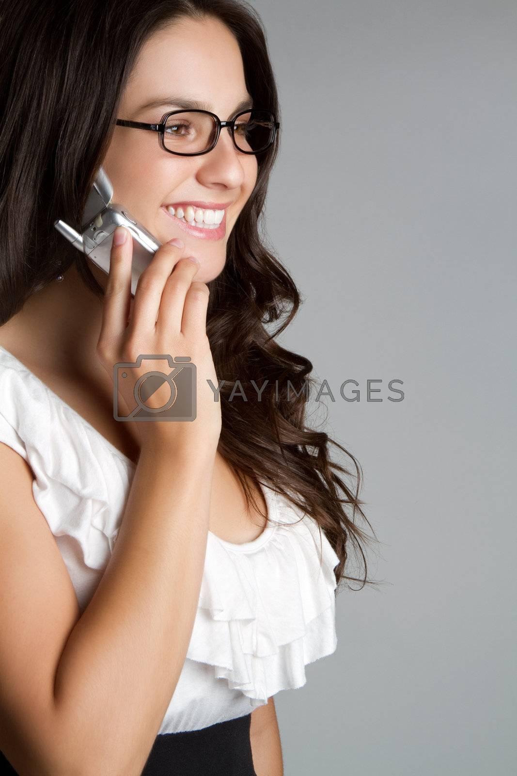 Beautiful young smiling phone woman