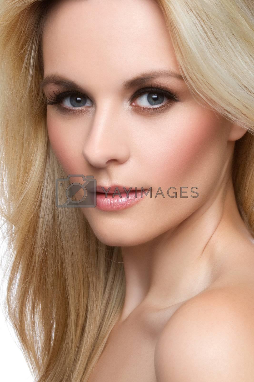 Beautiful blond woman face closeup